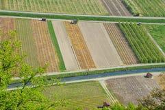 vue cultivée aérienne de zones photos stock