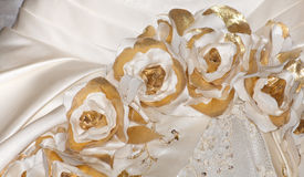 Vue/détails de plan rapproché de robe de mariage Photos stock