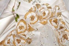 Vue/détails de plan rapproché de robe de mariage Photographie stock
