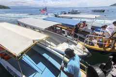 Vue d'île de Manukan, Sabah, Malaisie Images libres de droits