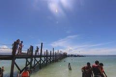 Vue d'île de Manukan, Sabah, Malaisie Photos libres de droits