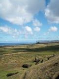 Vue d'île de Pâques longue Images stock