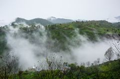 Vue d'île Samosir sur le lac Toba Photos stock
