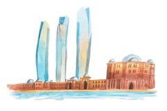 Vue d'Abu Dhabi dans l'illustration de waterclor des Emirats Arabes Unis Image stock