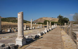 Vue d'Acropole de sanctuaire d'Asclepion image stock