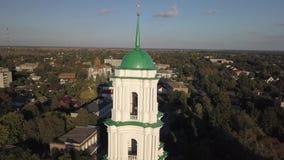 Vue d'Aerail à la Vierge bénie par nativité de cathédrale dans Kozelets, région de Chernihiv, Ukraine clips vidéos