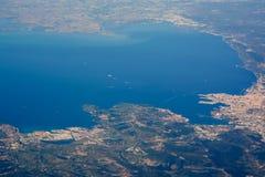 Vue d'Aereial de mer adritic Triste et du nord Photo libre de droits