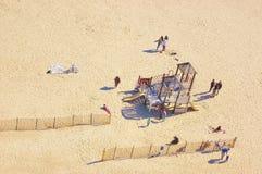 Vue d'air de New York de terrain de jeu de plage d'île de lapin Images libres de droits