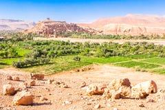 Vue d'Ait Benhaddou Kasbah, Ait Ben Haddou, Ouarzazate, Maroc Photo stock