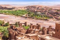 Vue d'Ait Benhaddou Kasbah, Ait Ben Haddou, Ouarzazate, Maroc Image stock