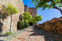 Vue d'Alcazaba de Malaga en Andalousie, Espagne photographie stock libre de droits