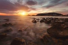 Vue d'Alicante au coucher du soleil Image stock