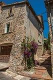 Vue d'allée avec la maison sur la pente et de fleurs dans le Haut-De-Cagnes Images libres de droits