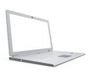 Vue d'angle argentée d'ordinateur portatif Image stock