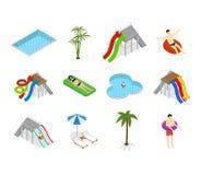 Vue d'Aqua Park Element Set Isometric Vecteur Illustration Libre de Droits