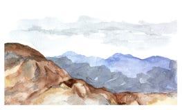 Vue d'aquarelle des montagnes illustration libre de droits