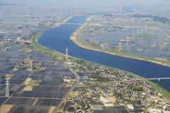Vue d'Arial au-dessus de la rivière photos libres de droits