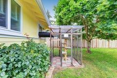 Vue d'arrière-cour avec le cat& x27 ; la cage de s avec prennent garde du signe Images libres de droits