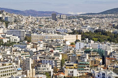 Vue d'Athènes avec le parlement grec Photos libres de droits