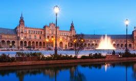 Vue d'aube de Plaza de Espana Séville Image libre de droits
