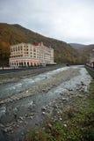 Vue d'automne de la rivière de Mzymta Image stock