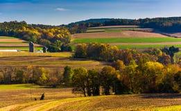 Vue d'automne de Rolling Hills dans le comté de York rural, Pennsylvanie photo libre de droits