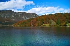 Vue d'automne du lac Bohinj Images libres de droits