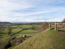 Vue d'automne, enfouissement d'Uley, Cotswolds, Gloucestershire, R-U Photos stock