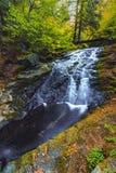 Vue d'automne d'une petite cascade Image libre de droits