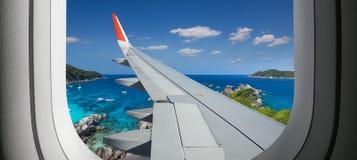 Vue d'avion Fenêtre de vol images libres de droits
