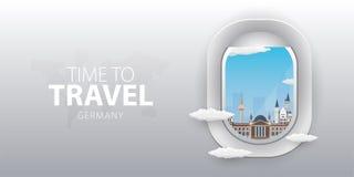 Vue d'avion Fenêtre de vol l'allemagne Bannière plate de vecteur de Web illustration stock