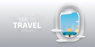 Vue d'avion Fenêtre de vol l'israel Bannière plate de vecteur de Web illustration libre de droits