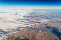 Vue d'avion d'horizon de la terre Photo libre de droits