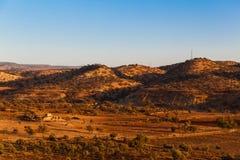 Vue d'or de paysage d'heure de vallée au Maroc Beau paysage africain du nord images libres de droits