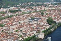 Vue d'ensemble de Cahors de la côte Photo libre de droits