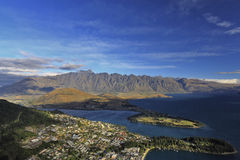 Vue d'ensemble de Queenstown images libres de droits