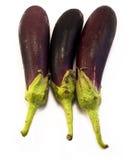 Vue d'ensemble de trois aubergines Image libre de droits