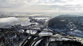 Vue d'Erial d'un échange de route de turbine à Kiev Photo libre de droits