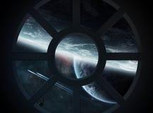 Vue d'espace extra-atmosphérique d'une carlingue de vaisseau spatial illustration de vecteur