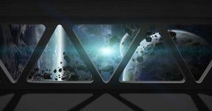 Vue d'espace extra-atmosphérique de l'intérieur d'une station spatiale Photographie stock