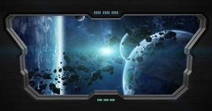 Vue d'espace extra-atmosphérique de l'intérieur d'une station spatiale Image stock