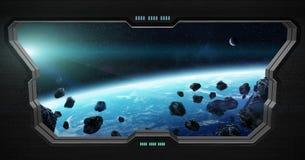 Vue d'espace extra-atmosphérique de l'intérieur d'une station spatiale Images libres de droits
