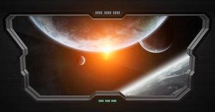 Vue d'espace extra-atmosphérique de l'intérieur d'une station spatiale Photographie stock libre de droits