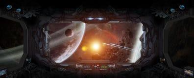 Vue d'espace extra-atmosphérique de la fenêtre d'une station spatiale Images libres de droits