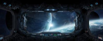 Vue d'espace extra-atmosphérique de la fenêtre d'une station spatiale Photo stock
