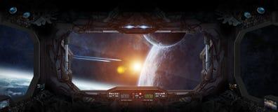 Vue d'espace extra-atmosphérique de la fenêtre d'une station spatiale illustration stock