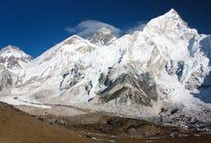 Vue d'Everest et de Nuptse de Kala Patthar Photographie stock