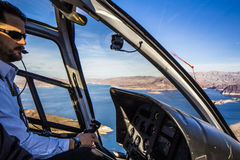 Vue d'hélicoptère de coucher du soleil de Grand Canyon Images libres de droits