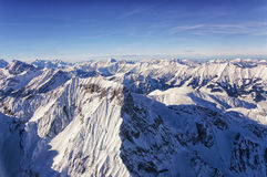 Vue d'hélicoptère de région de Jungfrau en hiver Photos libres de droits
