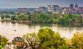 Vue d'Harrisburg et de la rivière Susquehanna du parc de Negley, L Image stock